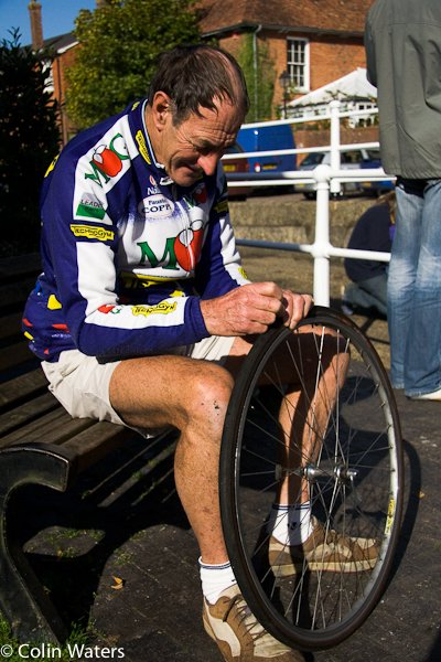 Mr Moseley mending a puncture