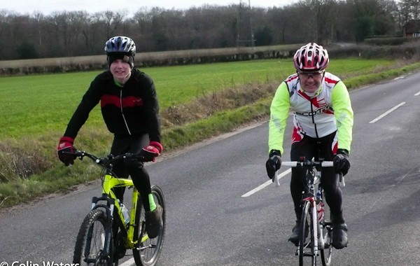 Two Andys on a club ride to Lasham