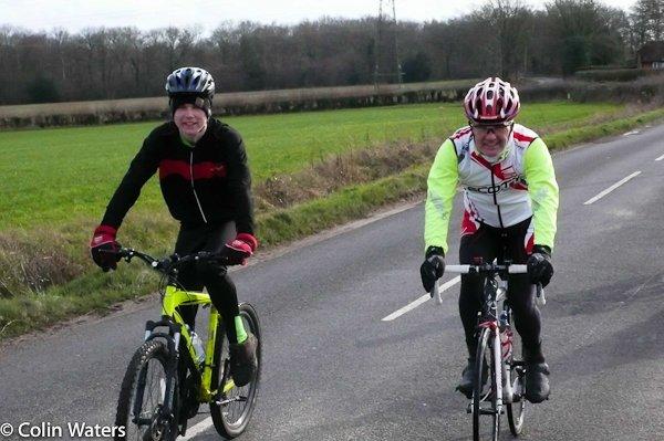 Two Andys on a club ride to Lasham