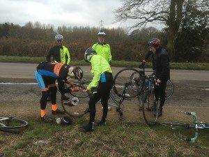Peter mending his puncture - 10 Mar 16