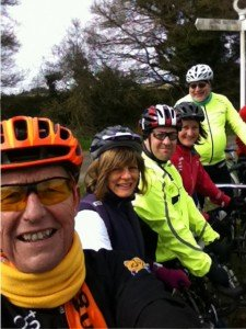 Five of the seven pedal2gether riders and Jenny's elbow!
