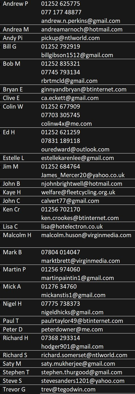 Ride leader contact details, as image